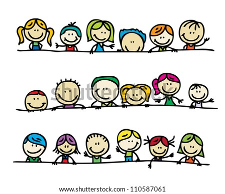Doodle borders of happy kids - stock vector