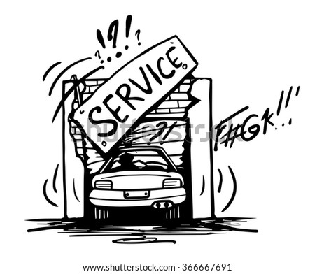 Doodle broken car service. Hand drawn black and white vector illustration. - stock vector