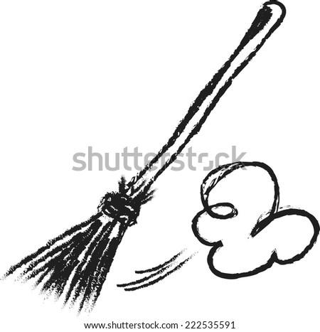 doodle broom - stock vector