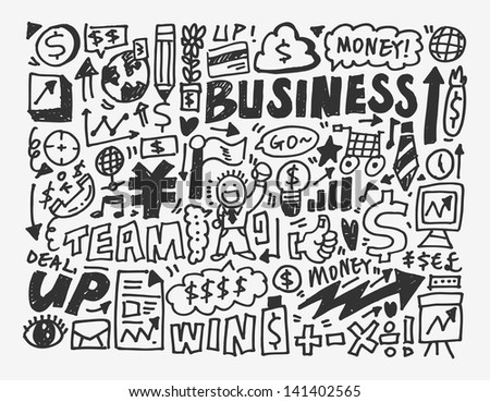 doodle business element,cartoon vector illustration