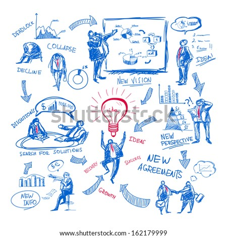 Doodle business management icons set vector illustration - stock vector