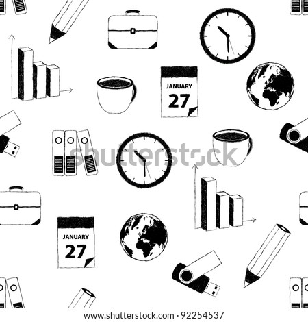 doodle business pictures pattern - stock vector