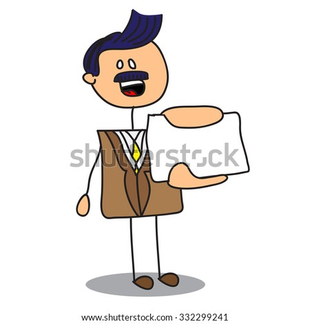 Doodle businessman showing blank card - stock vector
