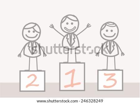 Doodle : Businessman Winner - stock vector