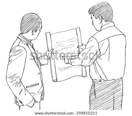 Doodle Businessman working, Vector Illustration EPS 10. - stock vector