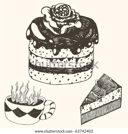 doodle - cake & coffee - stock vector