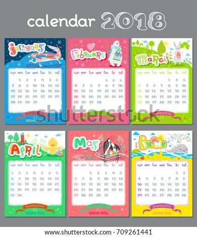 Doodle Calendar Design 2018 Year Vector Stock Vector 709261441 ...