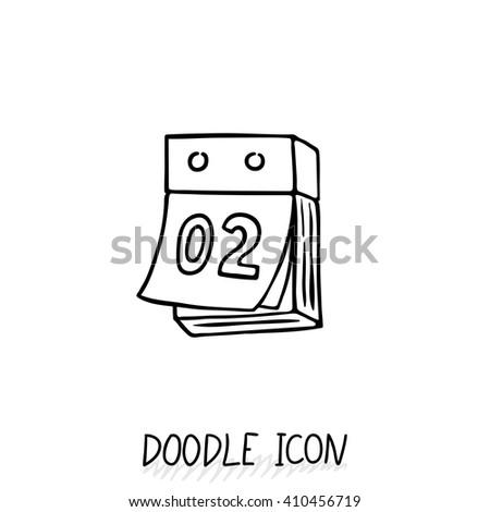 Doodle calendar icon. Vector illustration. Tear-off calendar. - stock vector