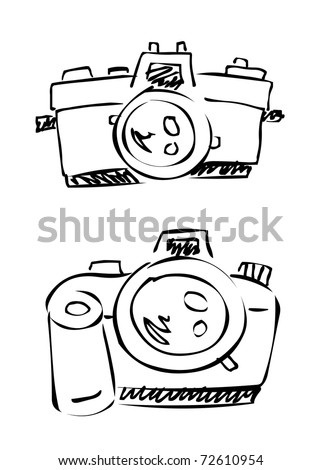 doodle camera #2 - stock vector