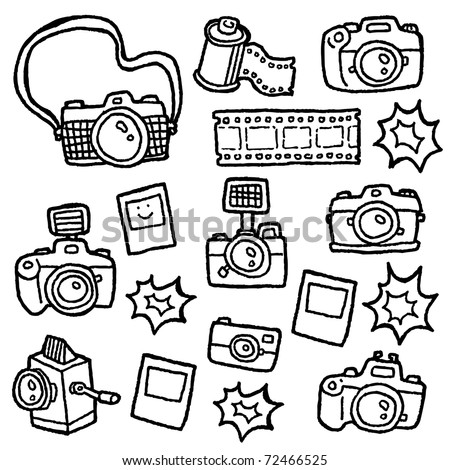 doodle cameras - stock vector