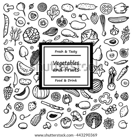 Doodle card from vegetables and fruits. Vegetarian hand drawn background