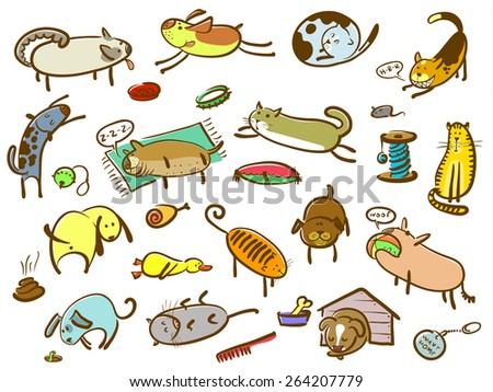 Doodle cartoon cats and dogs set (color version) - stock vector