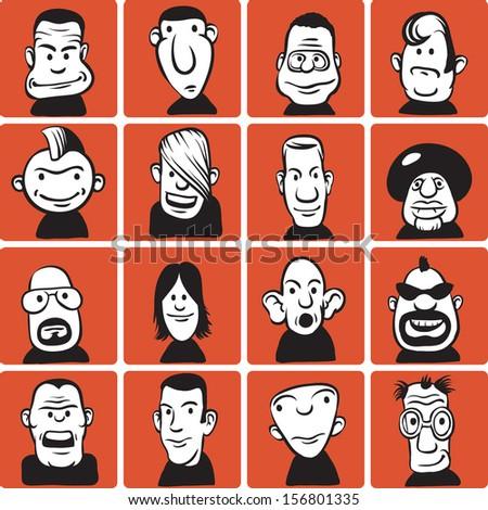 doodle cartoon faces - stock vector
