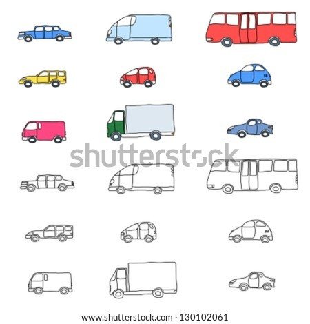 Doodle cartoon icon set - vehicle collection with cars, vans, trucks and a bus - stock vector