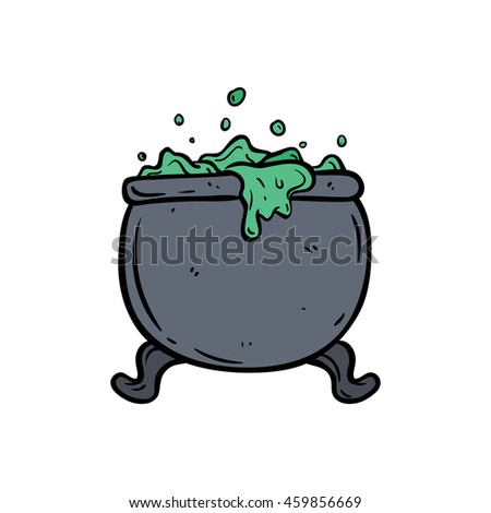 Doodle cauldron on white background