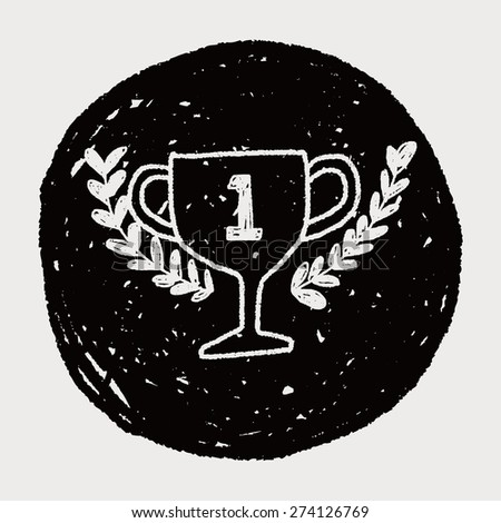doodle champion cup - stock vector