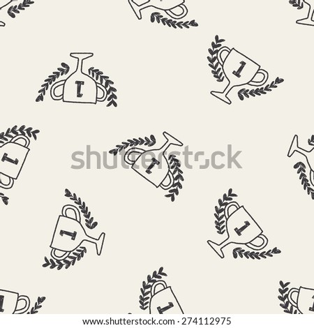 doodle champion cup seamless pattern background - stock vector