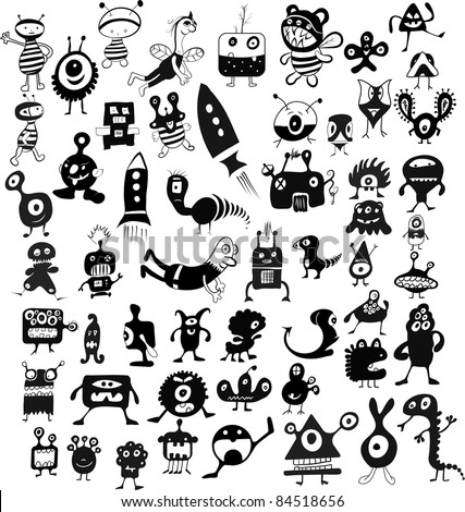 doodle characters set - stock vector