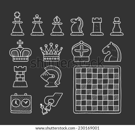 doodle chess icon set - stock vector