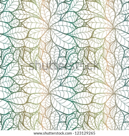 Doodle chestnut leaves seamless pattern. - stock vector