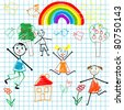 Doodle children on math page background - stock photo