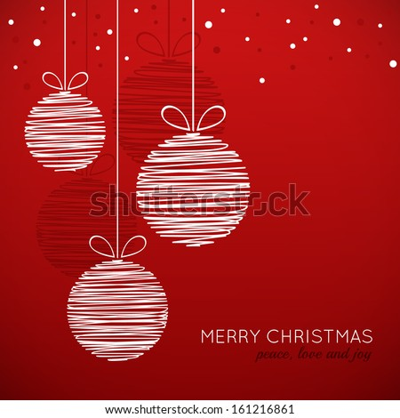 Doodle Christmas baubles on red background - stock vector