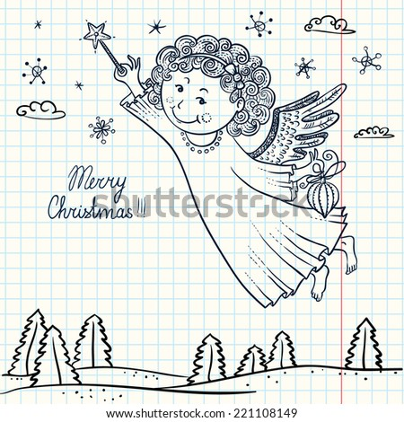 Doodle Christmas card with angel - stock vector