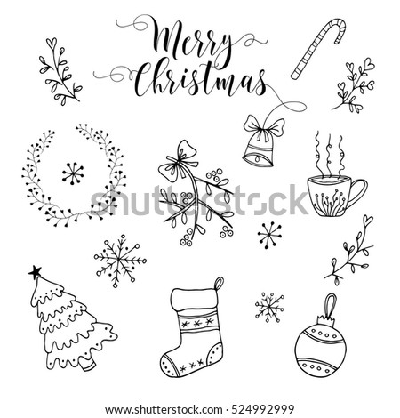 Doodle Christmas elements. Hand drawn set. Doodle patterns collection.