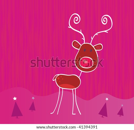 Doodle christmas reindeer Rudolph on snow. - stock vector