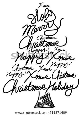 doodle Christmas tree word clouds - stock vector