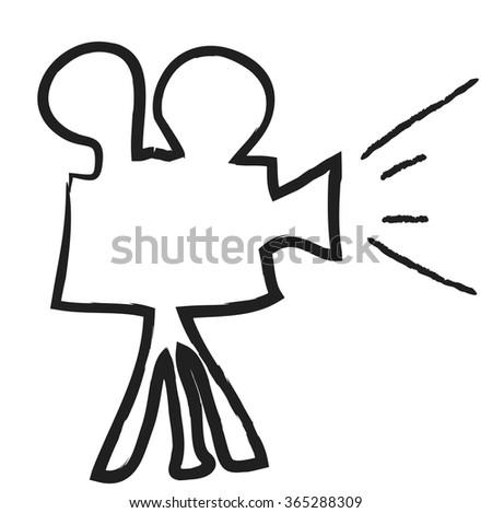 doodle cinema projector, vector illustration icon - stock vector