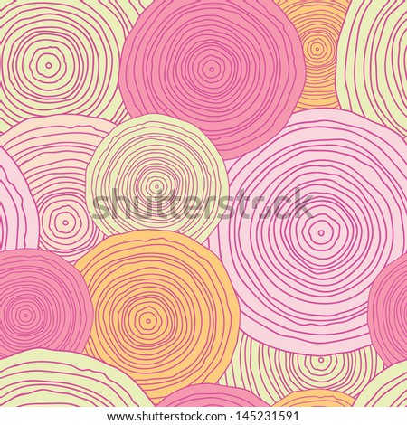 Doodle circle texture seamless pattern background - stock vector