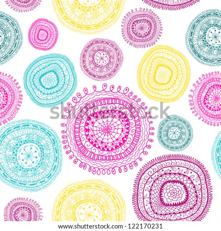 Doodle circles seamless pattern.