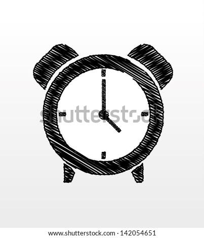 Doodle clock - stock vector