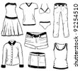 doodle clothes - stock vector