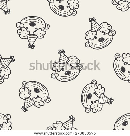 doodle clown seamless pattern background - stock vector