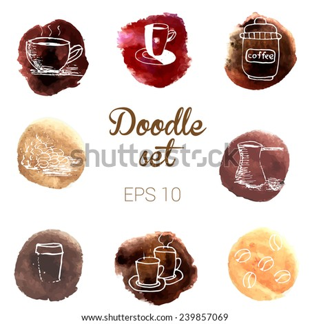 Doodle coffee icons on watercolor splashes - stock vector