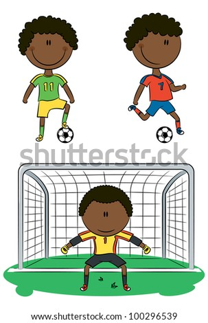 Doodle collection of cheerful African-American soccer players - stock vector