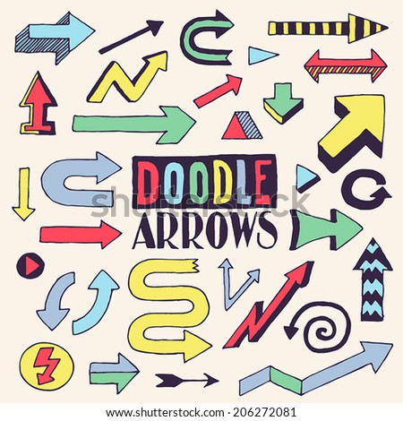 Doodle colorful arrows design set. Hand drawn vector illustration. - stock vector