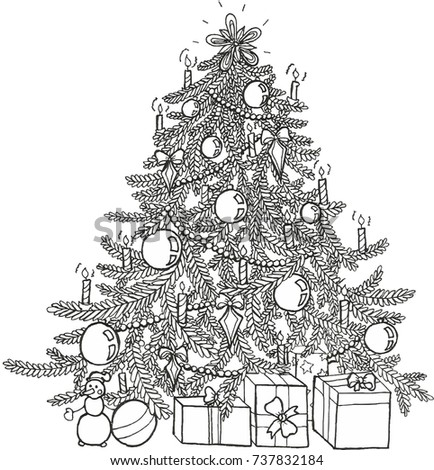 Doodle Coloring Book Christmas Tree Decorations Stock Vector ...