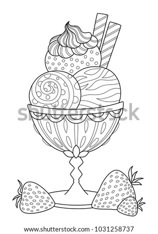 Doodle Coloring Book Page Ice Cream Stock Vector 1031258737 ...