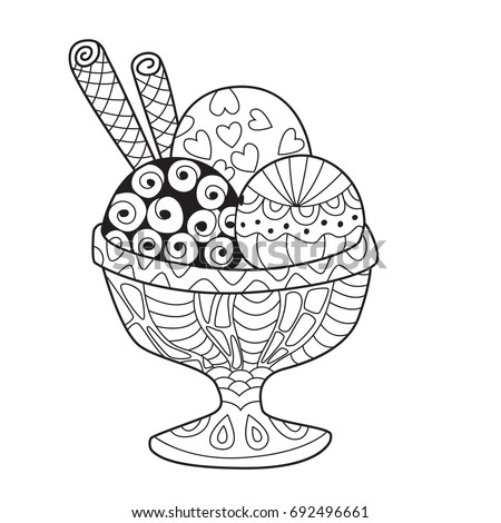 Doodle Coloring Book Page Ice Cream Stock Vector 692496661 ...