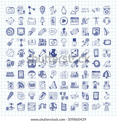doodle communication icons - stock vector