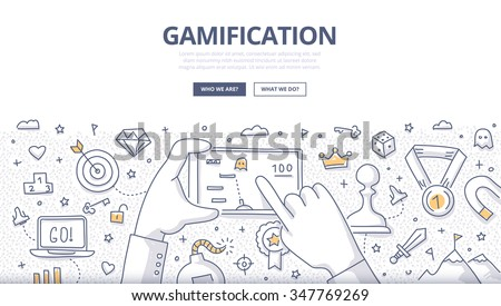 Doodle concept of gamification strategy, modern social media marketing, technology & innovation. Modern line style illustration for web banners, hero images, printed materials - stock vector