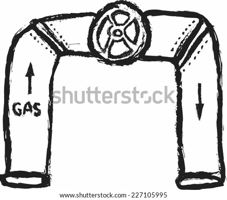 doodle concept valve and pipes for gas - stock vector
