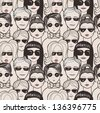 "Doodle ""crowd in sunglasses"" seamless pattern. - stock vector"