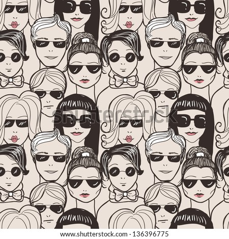 """Doodle """"crowd in sunglasses"""" seamless pattern. - stock vector"""
