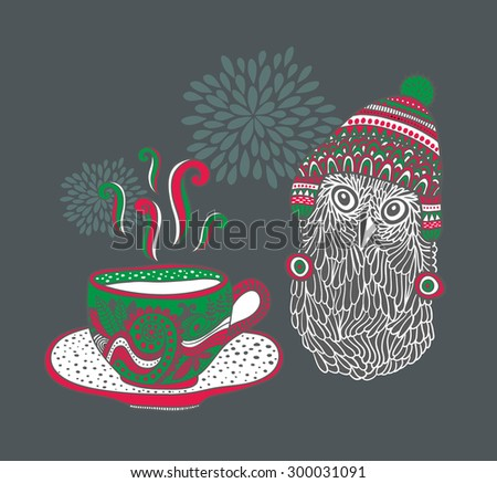 Doodle cup with hot drink and cute owl. Vector illustration. - stock vector