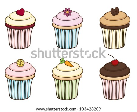 Doodle Cupcake Set. The decorations are interchangeable. - stock vector