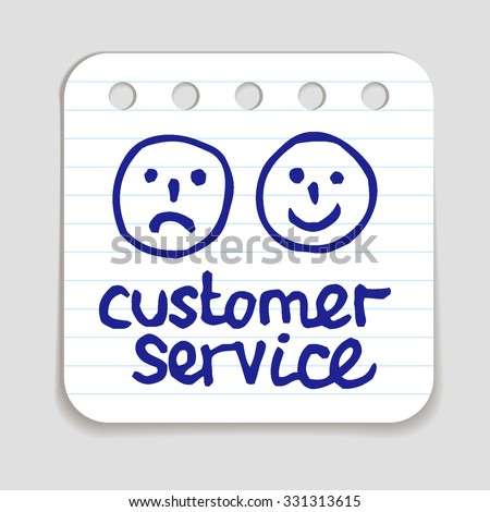 Doodle Customer Service icon. Blue pen hand drawn infographic symbol on notepaper. Line art style graphic design element. Web button with shadow. Client support, happy and unhappy customer concept.  - stock vector